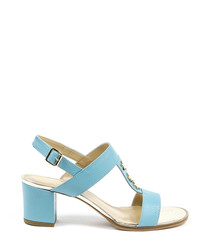 Jade leather strappy heeled sandals