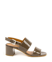 Taupe leather strappy sandals