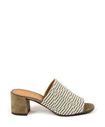 Beige leather print peeptoe mules