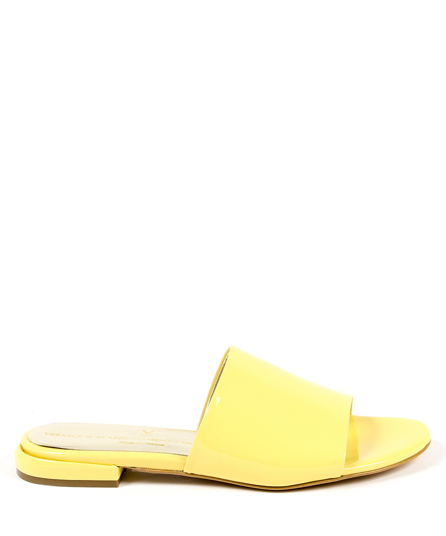 Yellow leather sliders Sale - v italia by versace 1969 abbigliamento sportivo srl milano italia