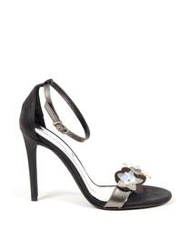 Black leather embellished strappy heels