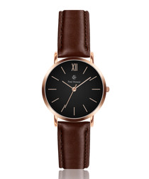 Bark & rose gold-tone leather watch