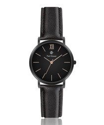 Black & gold-tone leather watch