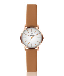 Camel brown & white leather watch