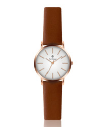 Brown & rose gold-tone leather watch