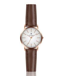 Dark brown & white leather watch