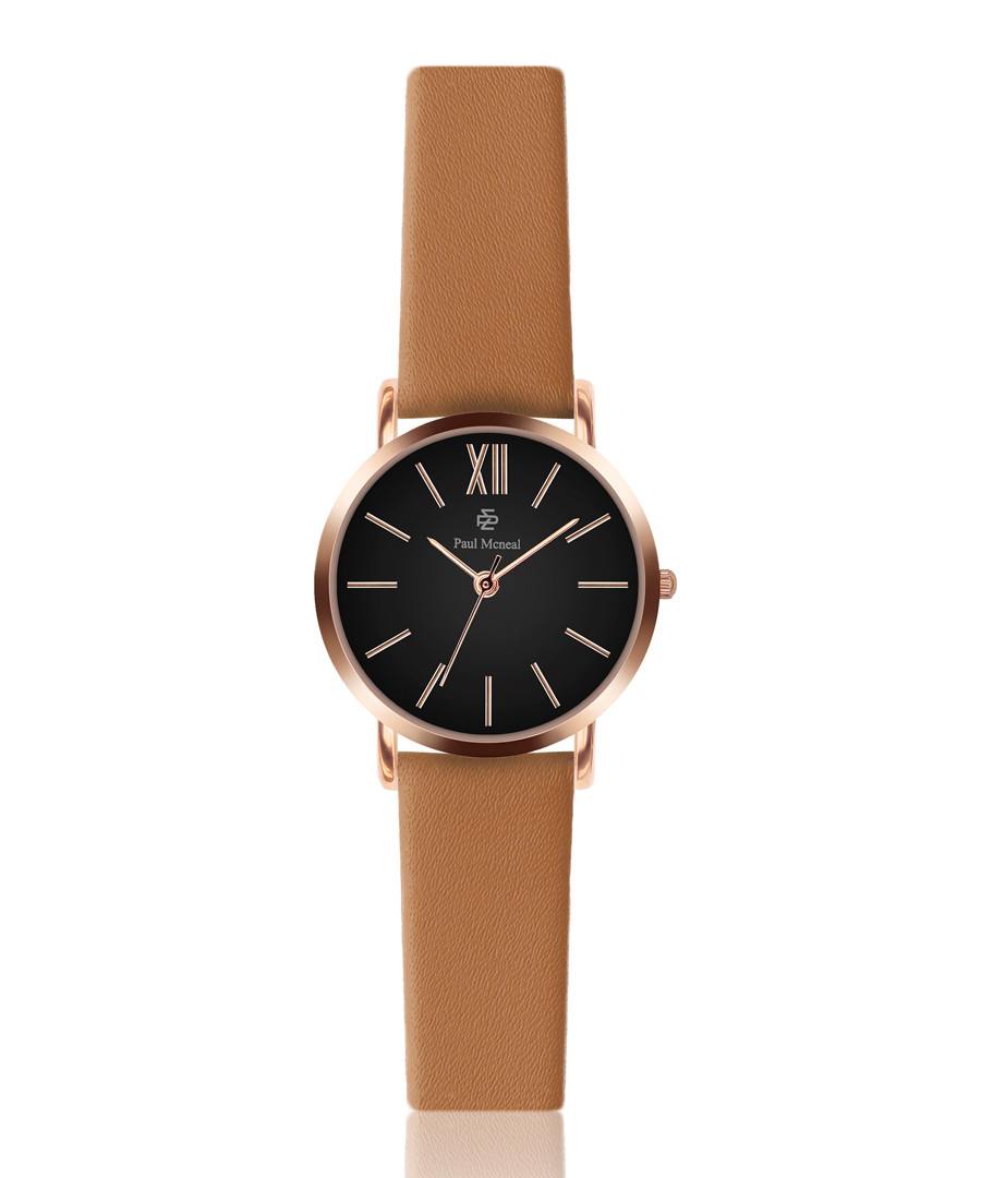 Camel & black leather watch  Sale - paul mcneal