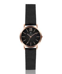 Black & rose gold-tone steel watch