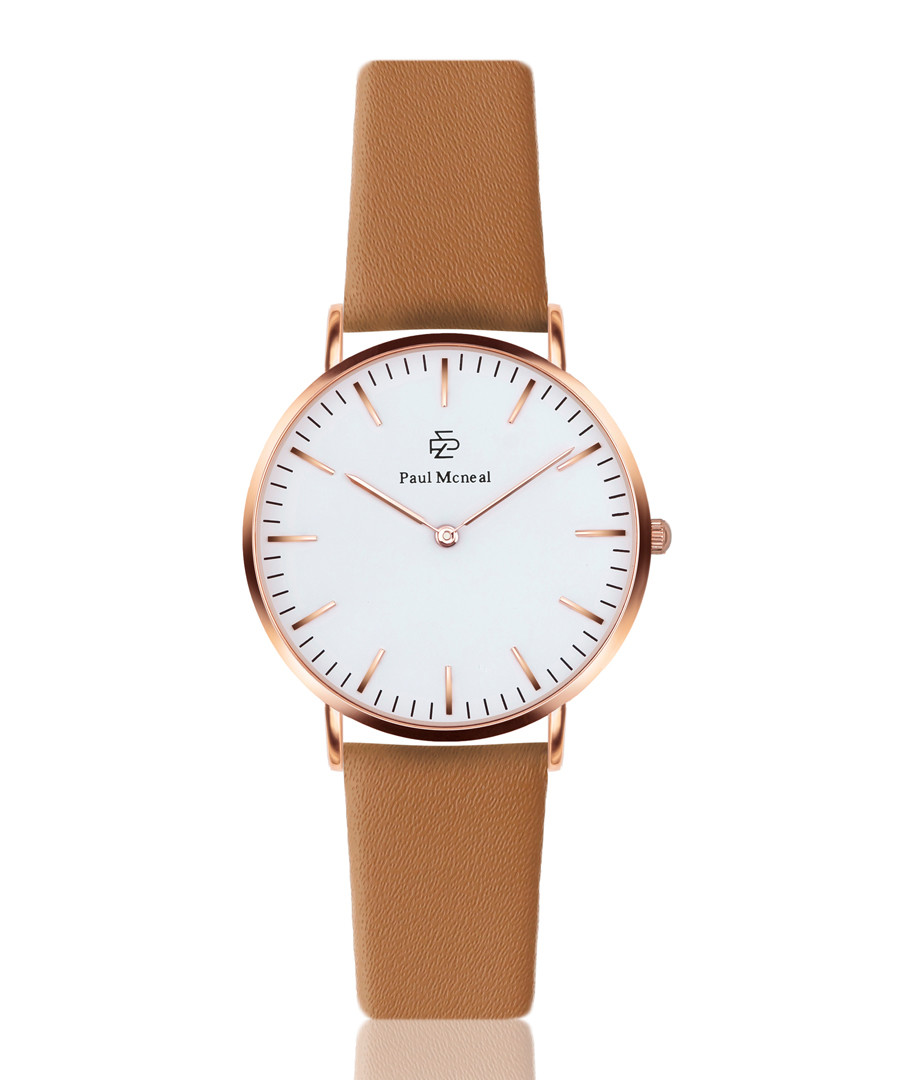 Tan brown & white leather watch  Sale - paul mcneal
