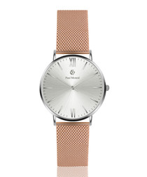 Rose gold-tone mesh strap watch