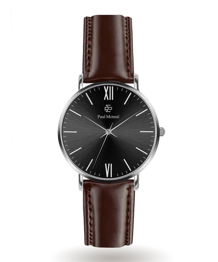 Dark brown & black leather watch  Sale - Paul McNeal