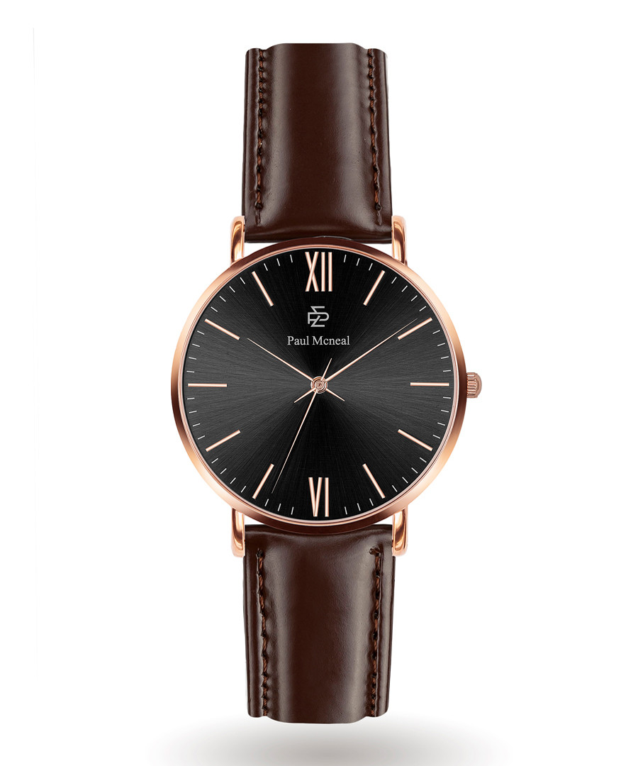 Brown & rose gold-tone leather watch Sale - Paul McNeal
