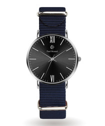 Black & silver-tone nylon watch