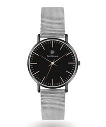 Silver-tone & black steel watch