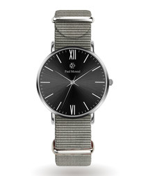 Silver-tone & black nylon watch