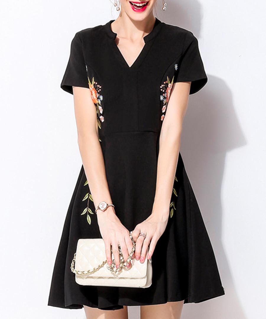Black cotton blend floral print dress Sale - lanelle