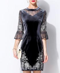 Grey velvet lace panel mini dress
