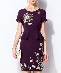 Purple cotton blend floral peplum dress