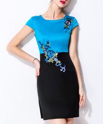 Blue & black cotton blend floral dress