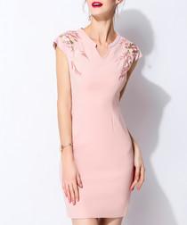 Pink cotton blend print mini dress