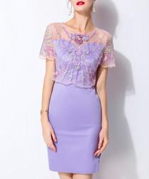 Purple cotton blend mesh mini dress