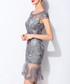 Grey circle mesh panel mini dress Sale - lanelle Sale