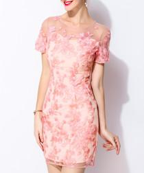 Pink mesh floral print mini dress