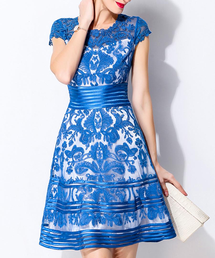 Blue lace overlay short sleeve dress Sale - lanelle