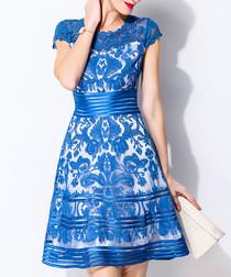Blue lace overlay short sleeve dress
