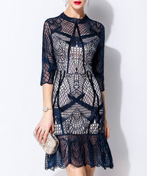 Navy lace overlay ruffle hem dress