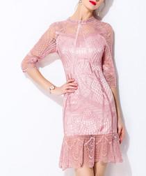 Pink lace overlay ruffle hem dress