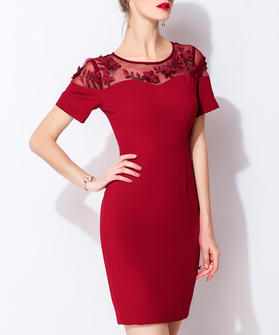 Red lace panel sweetheart mini dress Sale - lanelle