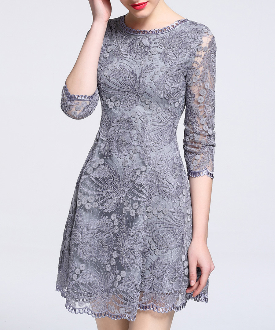 Grey lace overlay 3/4 sleeve dress Sale - lanelle