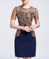 Navy & brown lace sheath mini dress