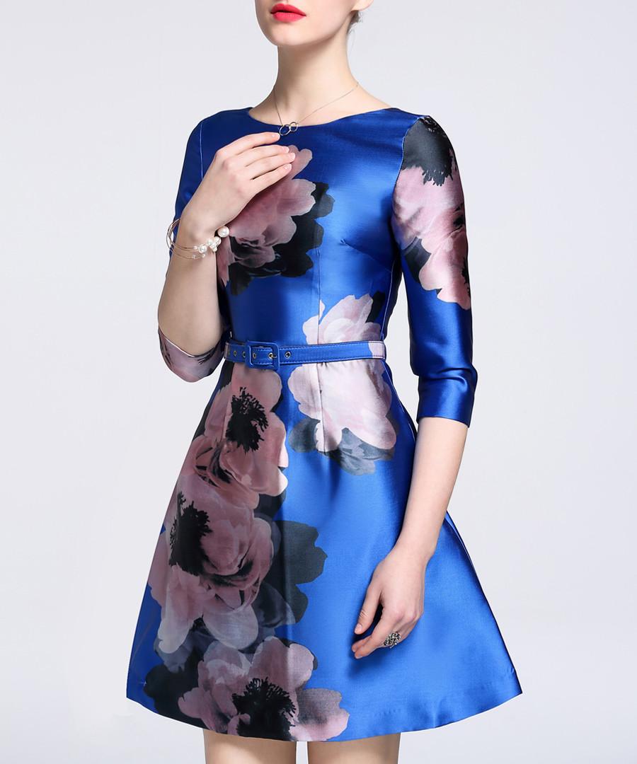 Blue floral print full skirt mini dress Sale - lanelle