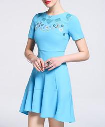 Light blue floral hi-lo mini dress