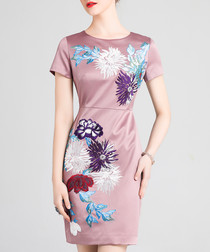Mauve cotton blend embroidered dress