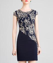 Black print short sleeve mini dress