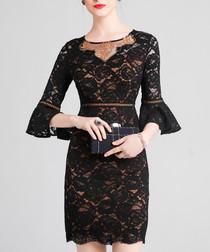 Black lace flute sleeve mini dress