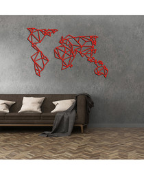 Red metal world wall art