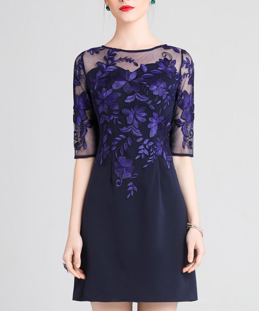 Blue lace panel A-line mini dress Sale - lanelle