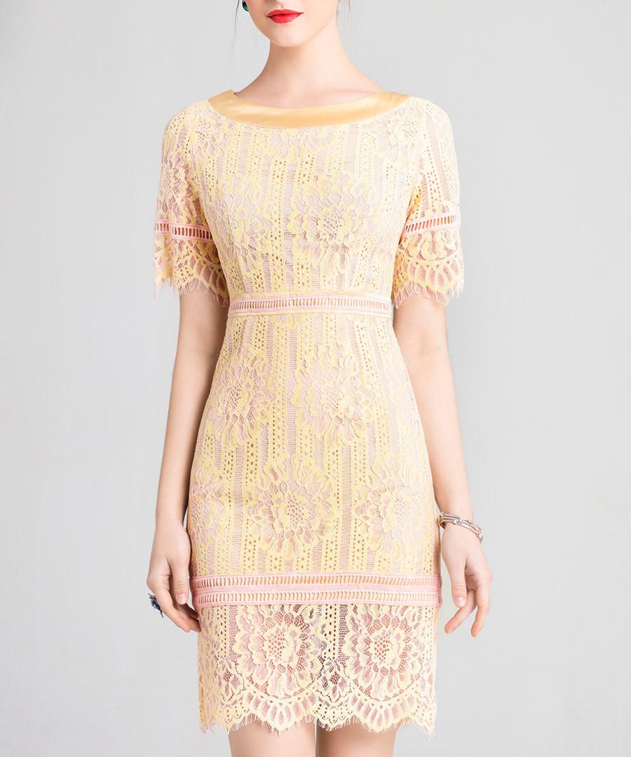 Light yellow lace overlay dress Sale - lanelle