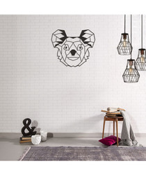 Black metal geometric koala wall art