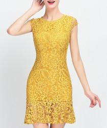 Yellow lace overlay mini dress