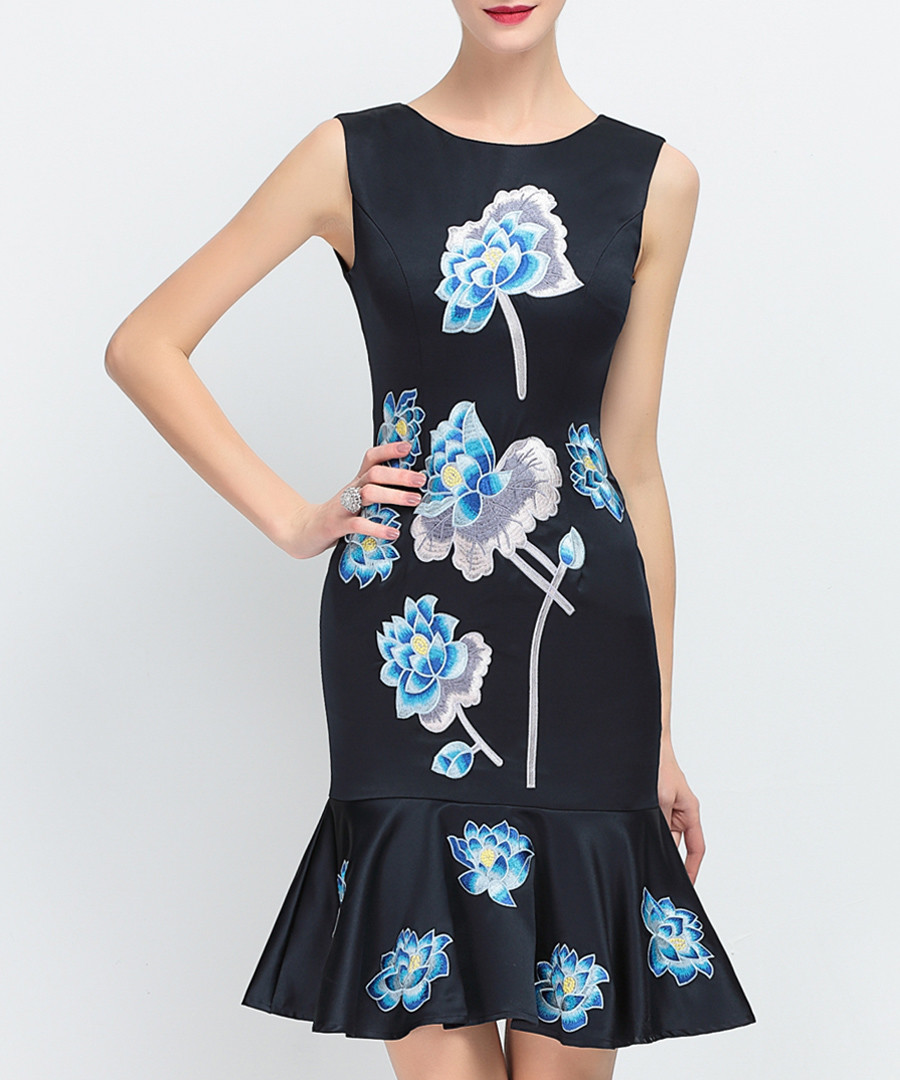 Navy floral sleeveless ruffle dress Sale - lanelle