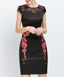 Black cotton blend floral lace dress