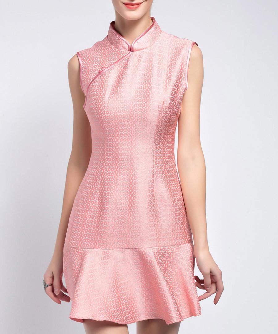 Pink Chinese collar ruffle hem dress Sale - lanelle