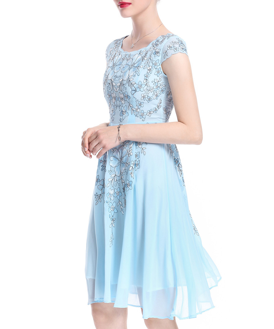 Light blue pure silk embroidered dress Sale - lanelle