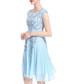 Light blue pure silk embroidered dress Sale - lanelle Sale
