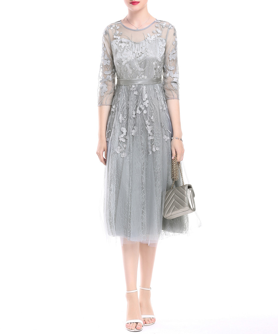 Grey embroidered midi dress Sale - lanelle